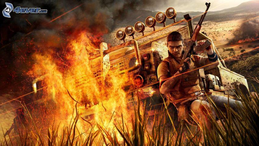 Far Cry 2, hombre con arma, llama