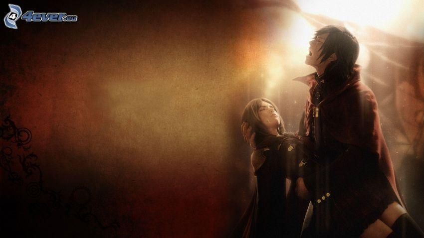 Final Fantasy, dibujos animados de pareja, muerte, tristeza