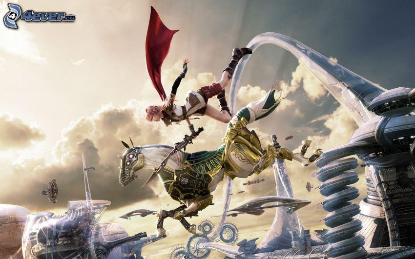 Final Fantasy XIII, chica, caballo