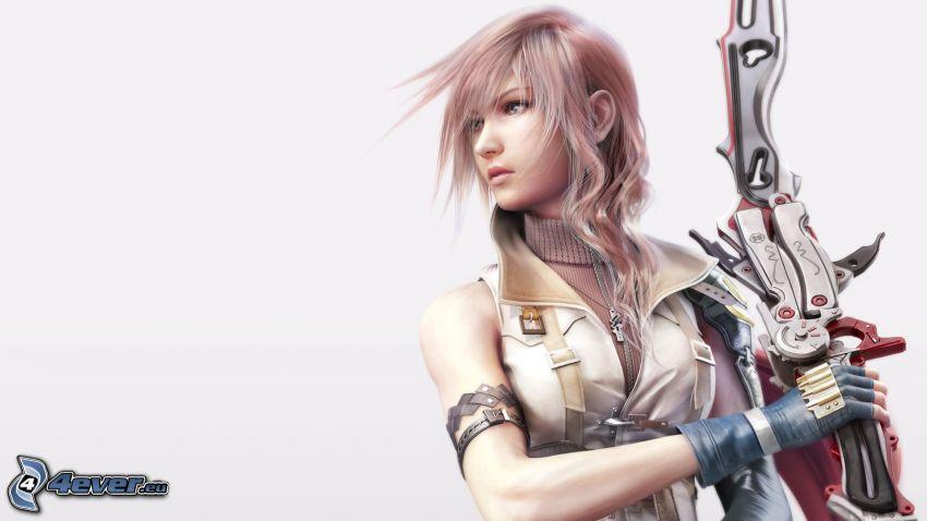 Final Fantasy XIII, mujer con arma