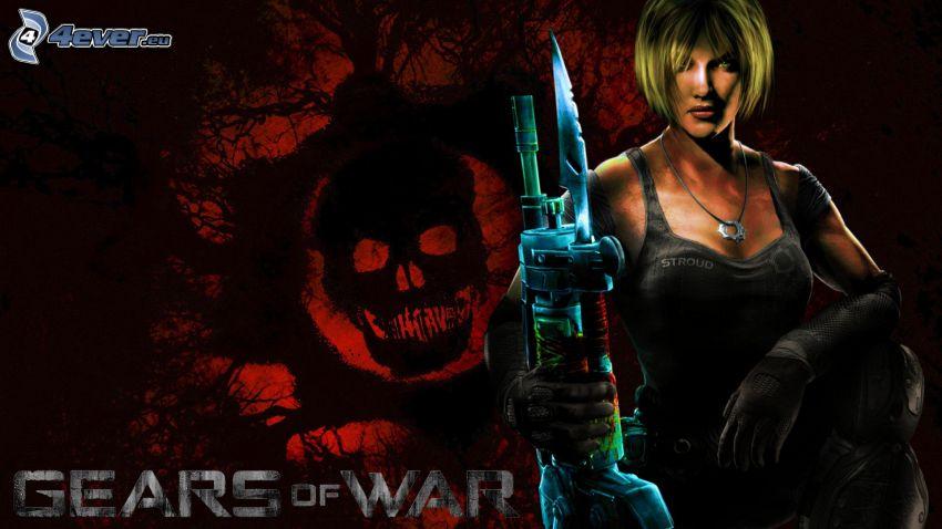 Gears of War, mujer con arma, cráneo