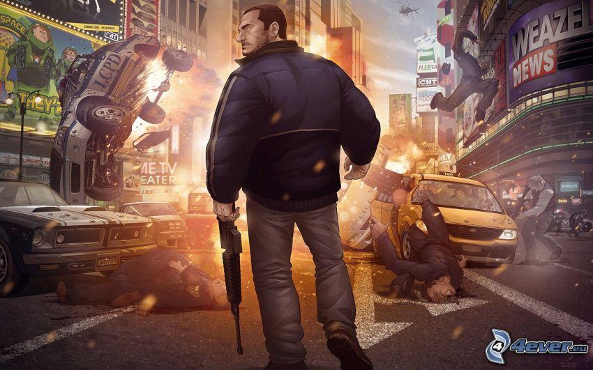 Grand Theft Auto, hombre con arma, accidente