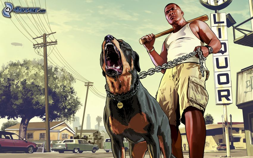 Grand Theft Auto V, gangster, perro