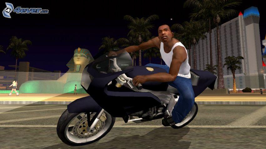 GTA San Andreas, motocicleta, esfinge, ciudad de noche
