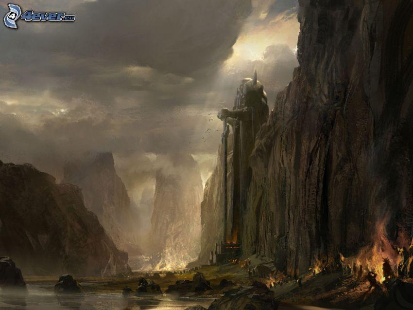 Guild Wars 2, paisaje de dibujos animados, montaña rocosa