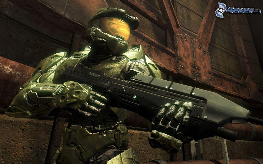 Halo, soldado con una pistola, soldado de ciencia ficción