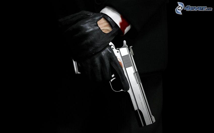 Hitman, arma, guantes