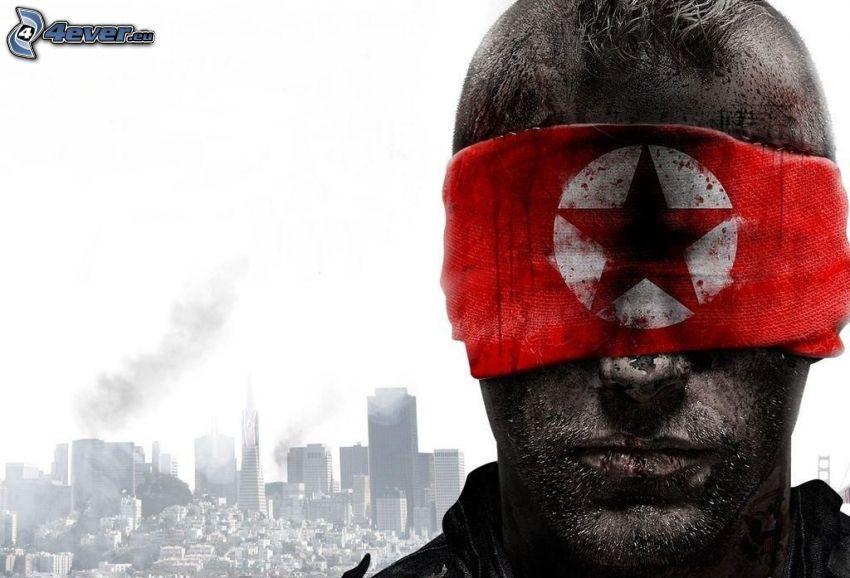 Homefront, hombre, bufanda, ciudad post-apocalíptica