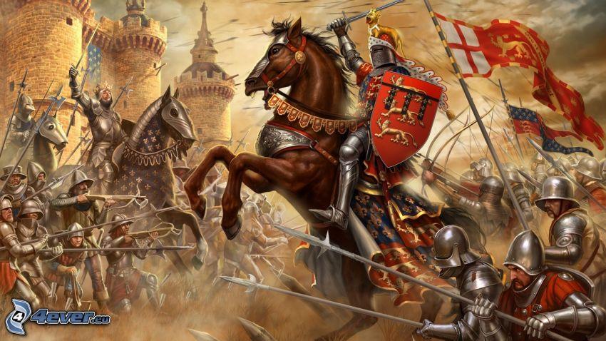 Juegos de PC, luchadores, caballo marrón, batalla
