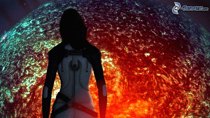 Mass Effect, silueta de mujer