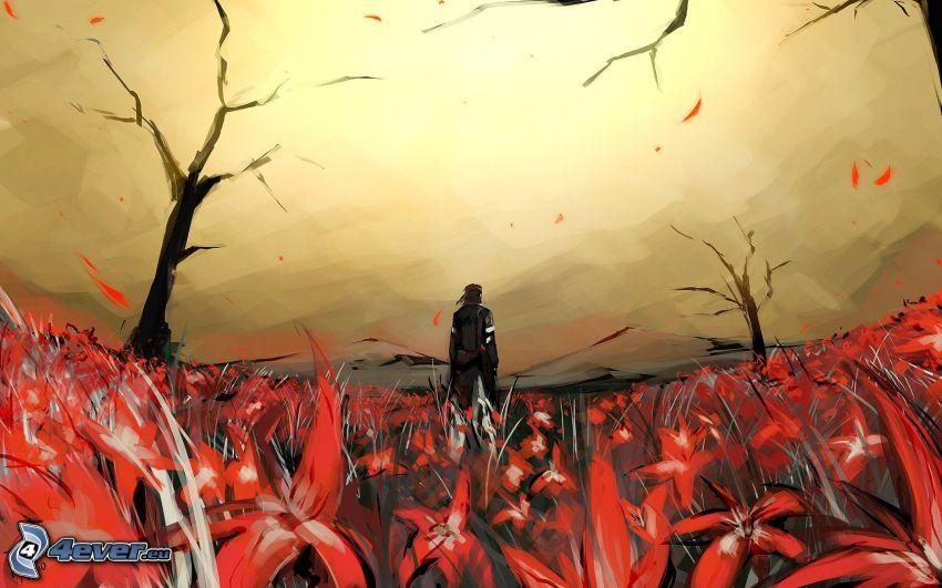 Metal Gear Solid 3, prado, flores rojas