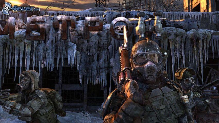 Metro 2033, hombre, careta antigás