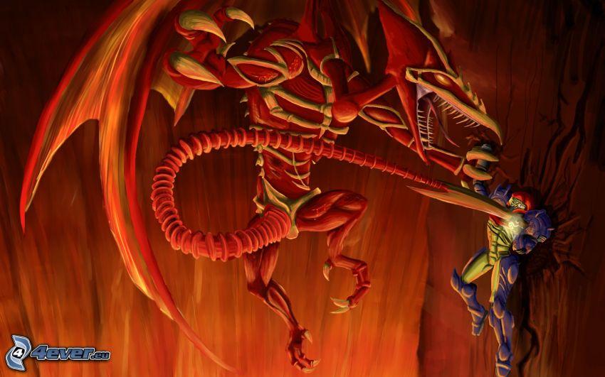 Metroid, dragón rojo