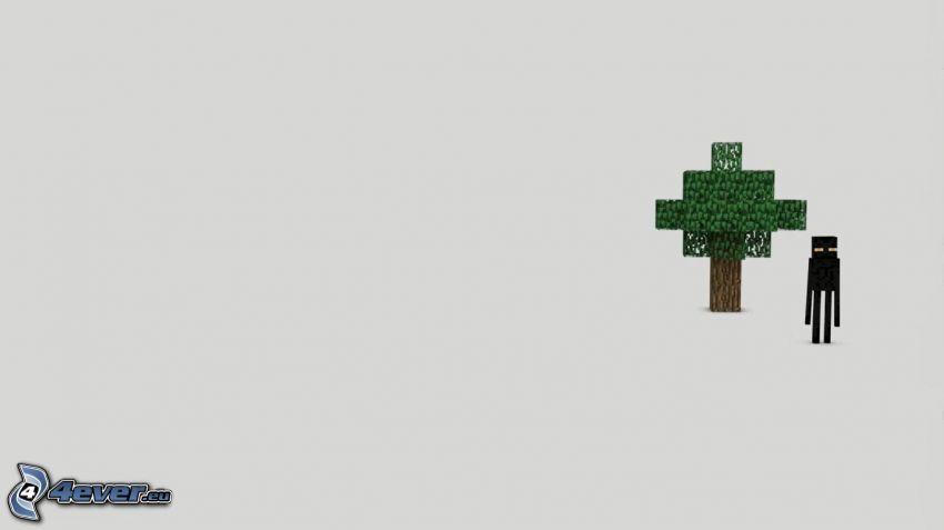 Minecraft, árbol, Enderman