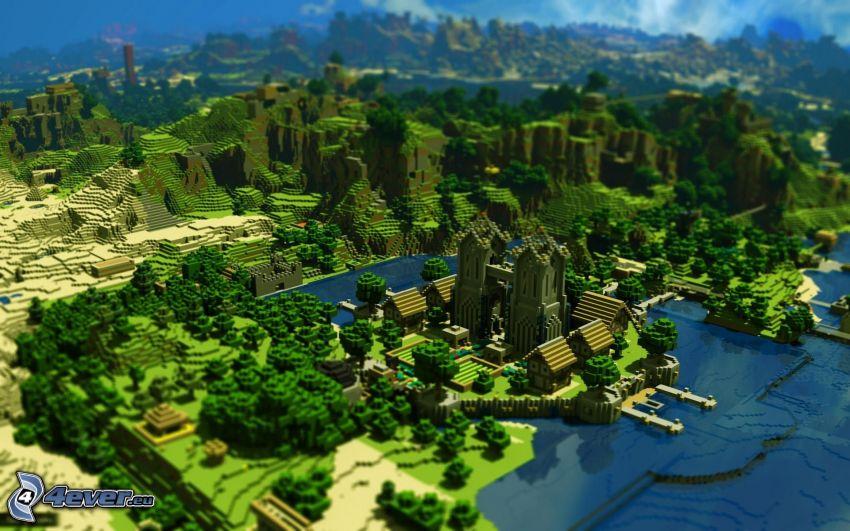 Minecraft, montañas, aldea, catedral