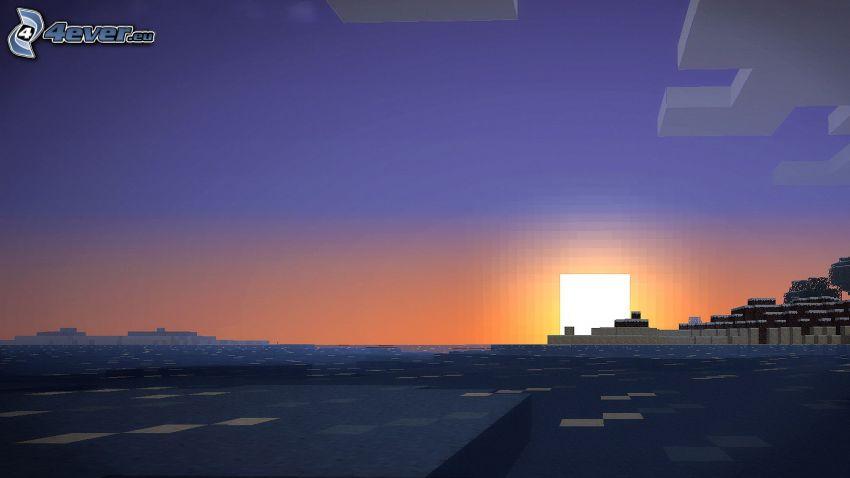 Minecraft, puesta del sol