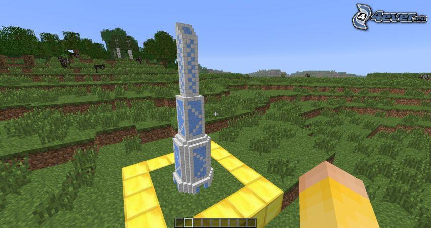 Minecraft, torre, mano