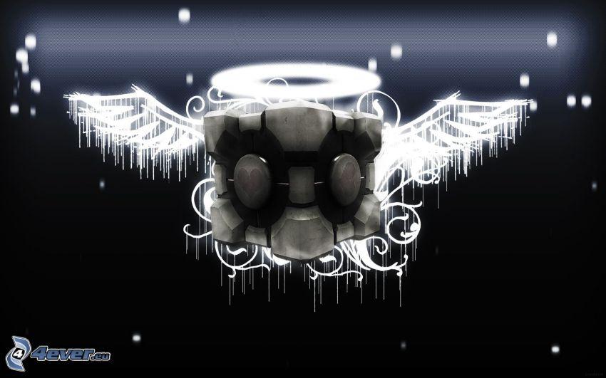 Portal 2, cubo, alas, ángel