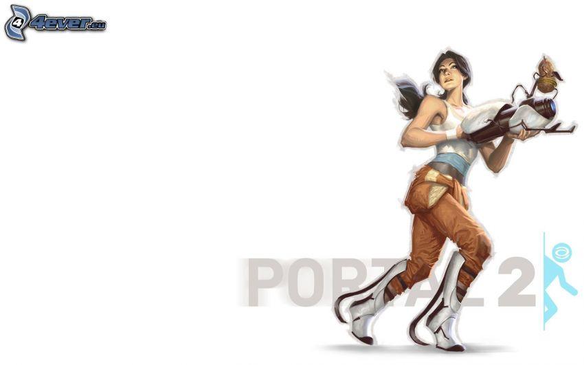 Portal 2, mujer con arma