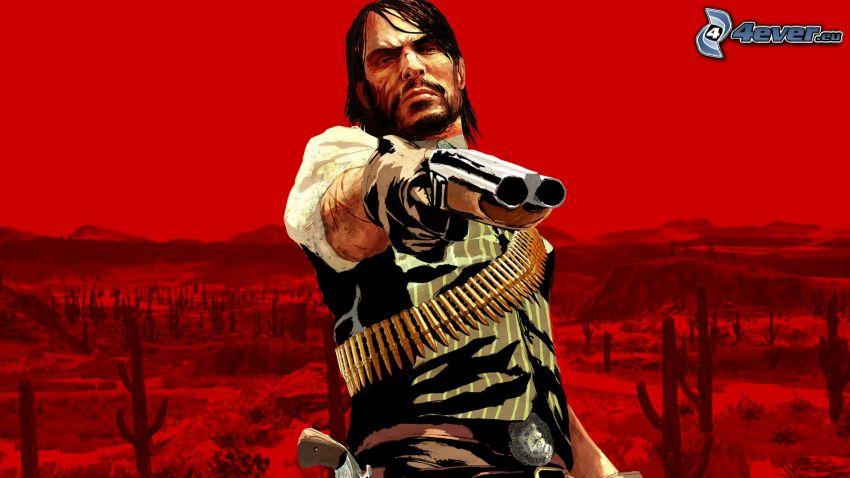 Red Dead Redemption, hombre con arma