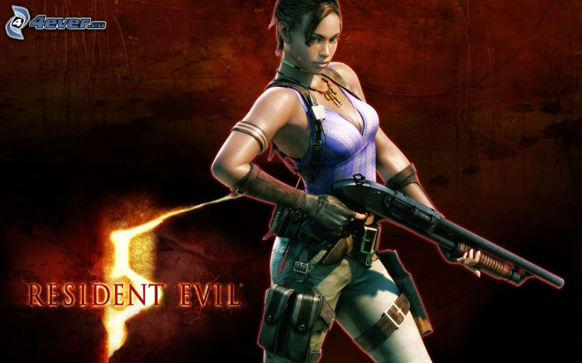 Resident Evil, mujer con arma
