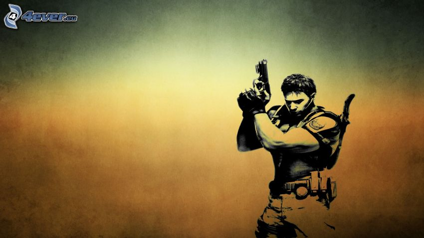 Resident Evil 6, hombre con arma