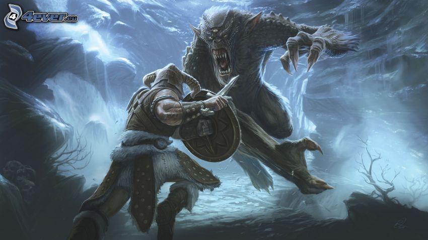 The Elder Scrolls 5, guerrero, monstruo