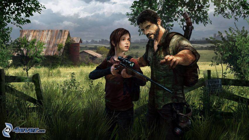 The Last of Us, hombre, chica, sniper, granja americana