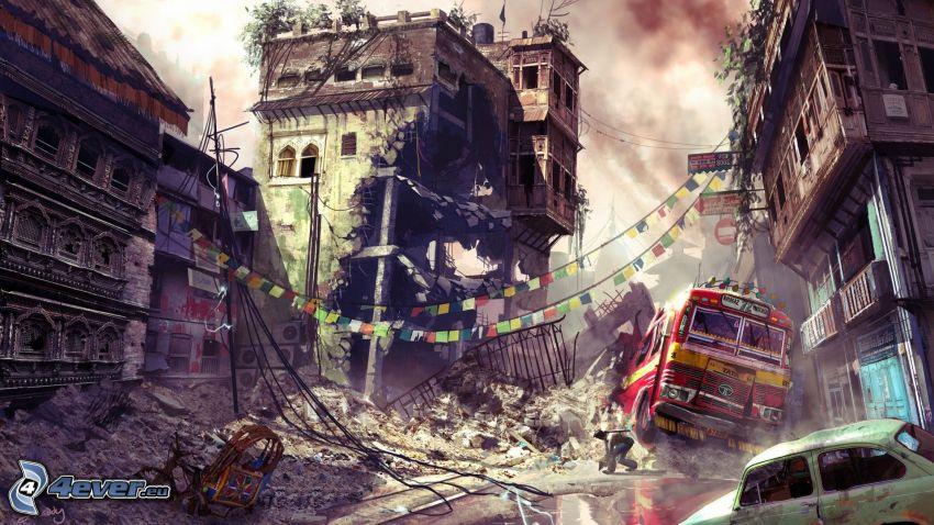 Uncharted 2: Among Thieves, ciudad en ruinas