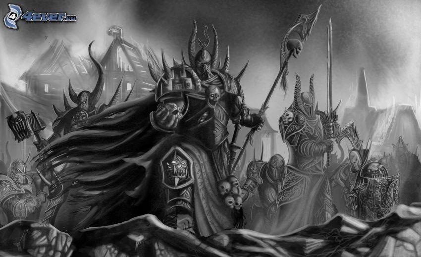 Warhammer, guerrero fantástico, blanco y negro