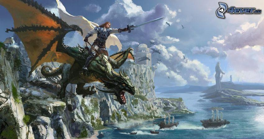 Warrior, dragón volador, caballero, roca