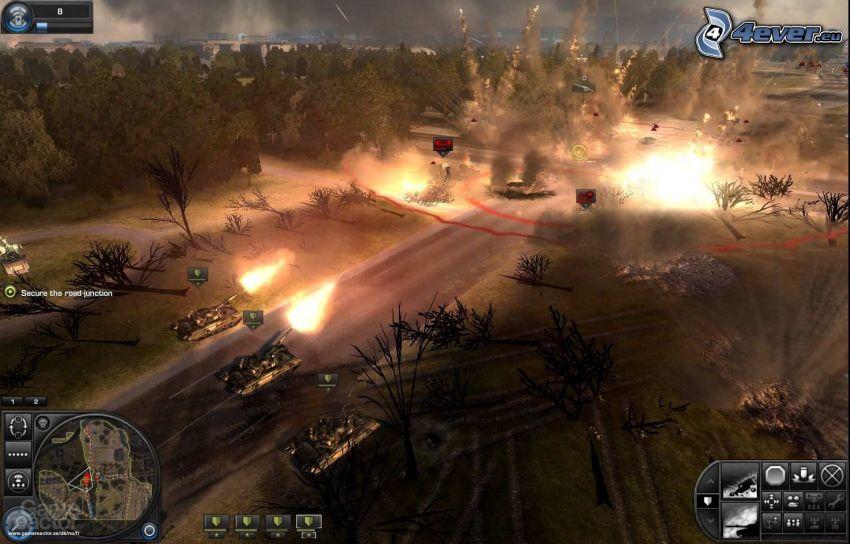 World in Conflict, disparo, explosión, tanques, bosque