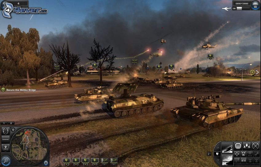 World in Conflict, tanques, helicópteros militares, disparo