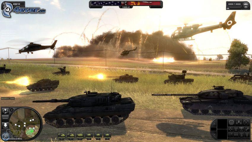 World in Conflict, tanques, helicópteros militares, disparo