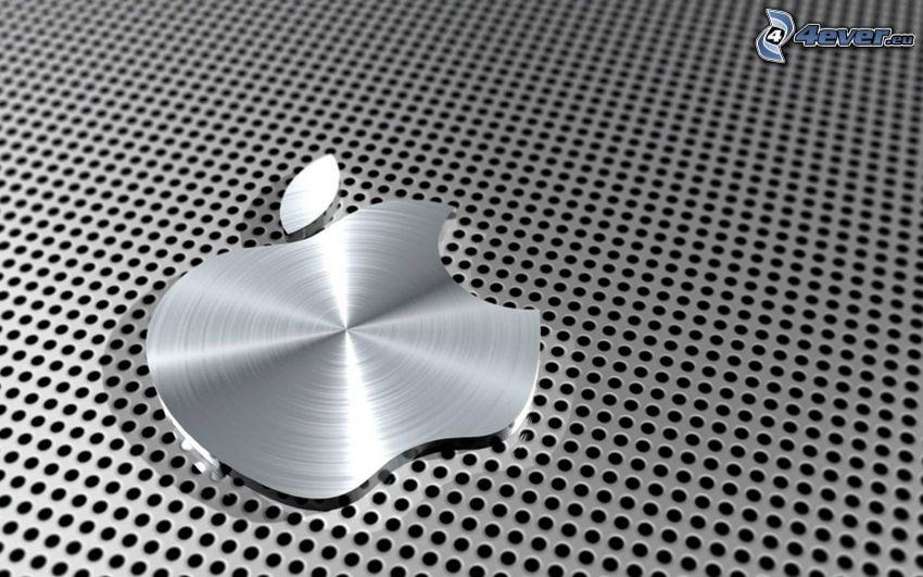 Apple, círculos, fondo gris