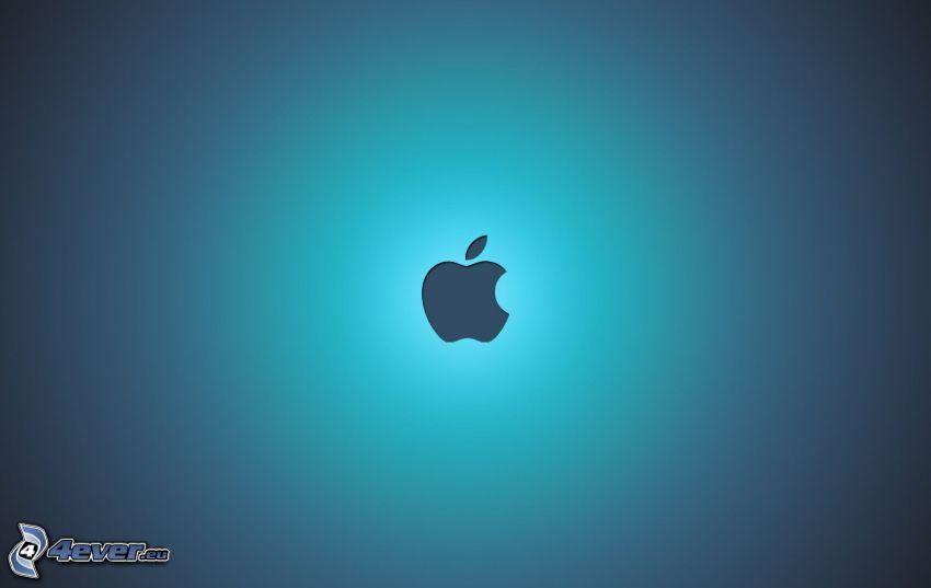 Apple, fondo azul