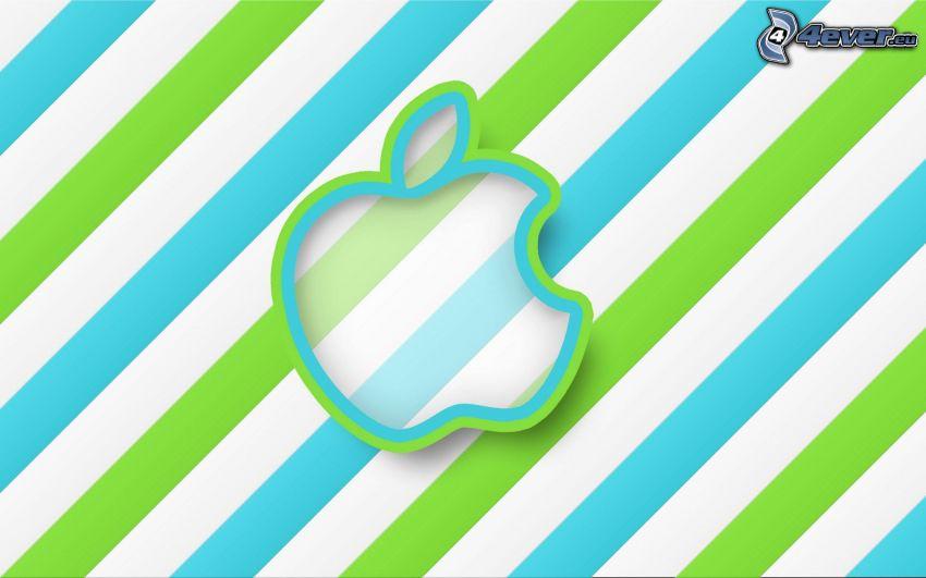 Apple, franjas azules, cadenas verdes, rayas blancas
