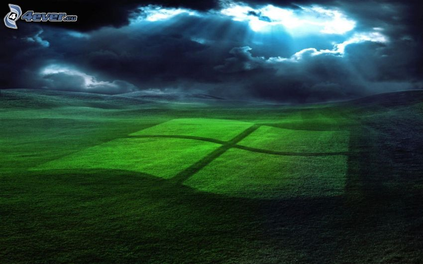 Windows, logo, nubes, rayos de sol, hierba