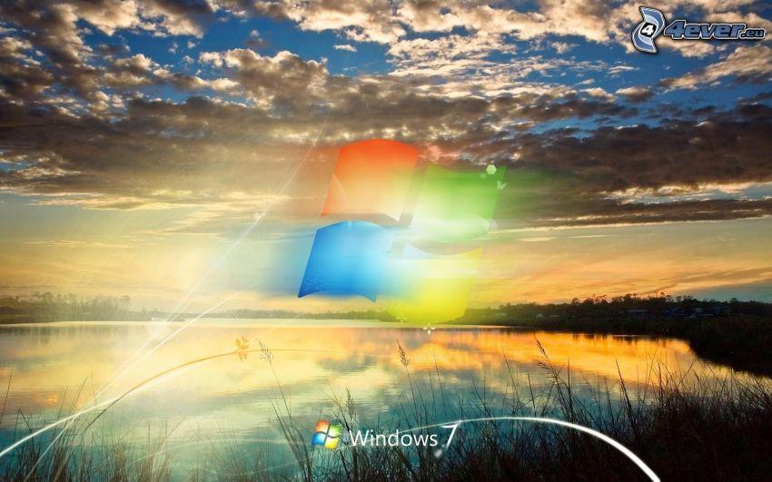 Windows 7, lago, nubes, atardecer