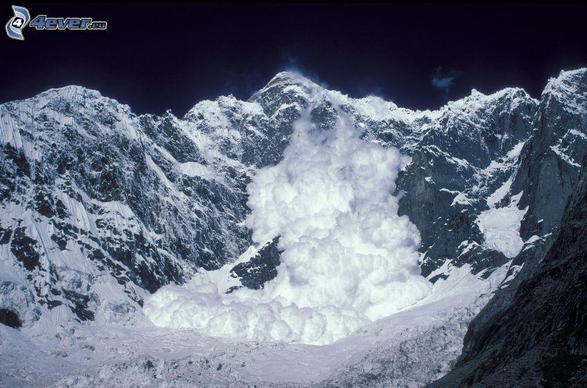 alud, montaña nevada, montaña rocosa