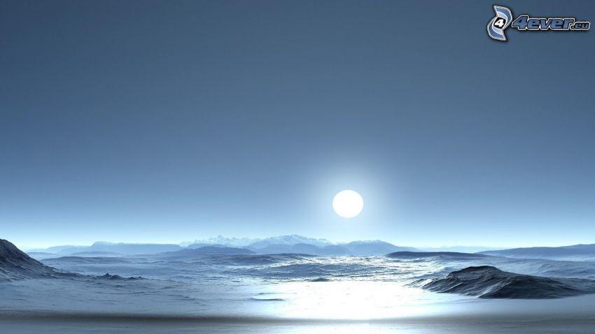 Antártida, sol, mar