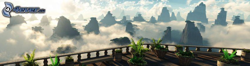 balcón, plantas, montaña rocosa, nubes