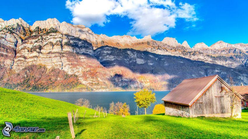 cabaña, lago, montañas