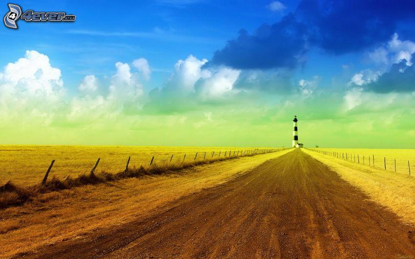 camino de campo, faro, campos, nubes oscuras