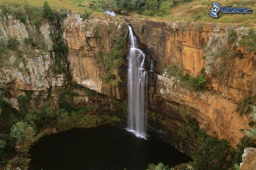 cascada, lago, rocas