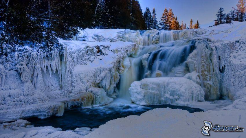 cascada, paisaje helado, hielo, río, nieve