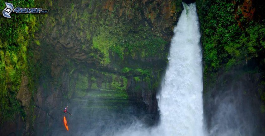 cascada, roca, surfista