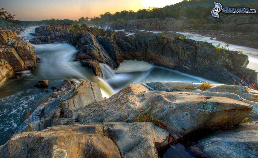 cascada, rocas, HDR