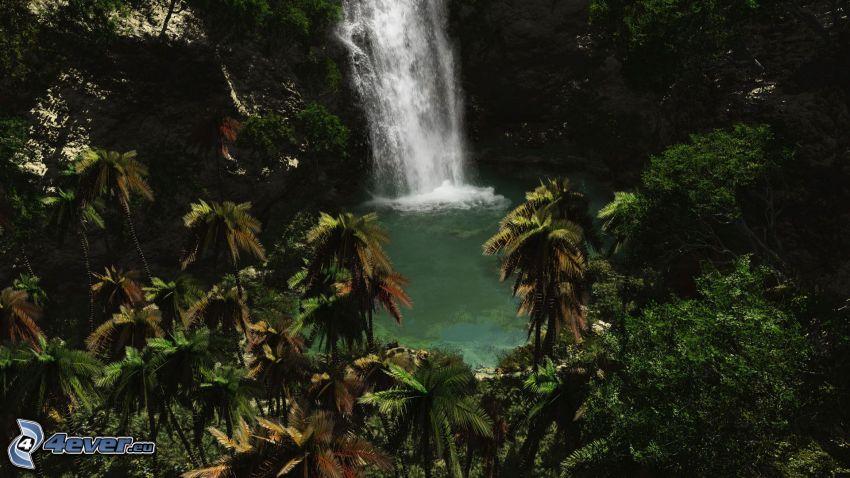 cascada en la selva, lago en un bosque