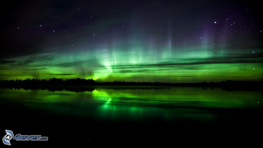 cielo de noche, aurora polar, horizonte
